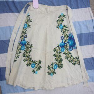 Vintage Boho Canvas Embroidered Peacock Wrap Skirt
